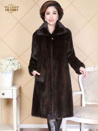 Áo khoác TA1607 mới 2017 chất lông 100% tự nhiên kiểu dáng dài cổ bẻ