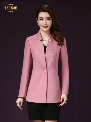 Áo khoác dạ mới  2017 dáng ngắn cổ tàu màu hồng TA1646