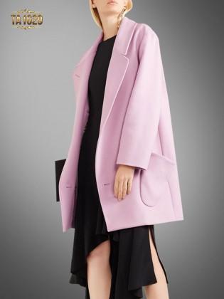 Áo khoác dạ hồng TA1629 thời thượng mới nhất 2017 có 2 túi chéo thiết kế