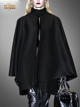 Áo choàng cape TA1638 cổ trụ màu đen cao cấp 2017