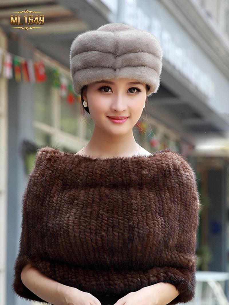 Mũ lông thú nữ hàn quốc cao cấp