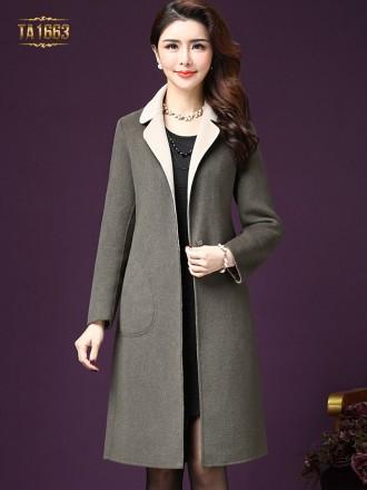 Áo khoác dạ TA1663 mới 2017 dáng dài cổ phối màu kèm đai nơ (Màu xám)
