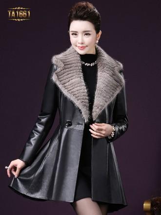 Áo khoác da TA1661 mới 2017 đính lông dáng váy thời trang