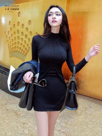 Đầm body TV1665 mới 2017 cổ cao sọc gân thời trang (Màu đen)