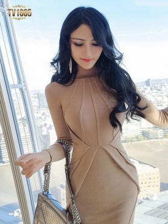 Đầm body TV1665 mới 2017 cổ cao sọc gân thời trang (Màu nude)