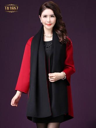 Áo khoác dạ TA1657 mới 2017 vạt high low thời trang (Màu đen)