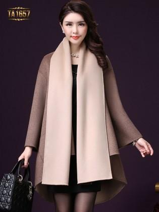 Áo khoác dạ TA1657 mới 2017 vạt high low thời trang (Nâu kem)