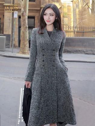 Áo khoác dạ TA1675 mới 2017 cổ V dáng dài sọc xám