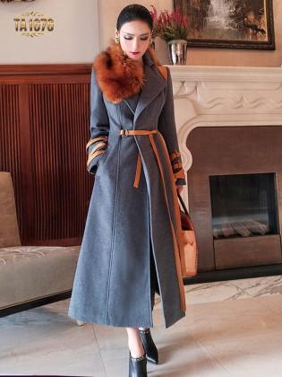 Áo khoác dạ dáng váy TA1676 mới 2017 cổ lông kèm dây đai