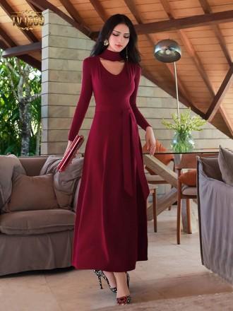 Đầm len dáng dài TV1669 mới 2017 chữ A thắt eo thời trang