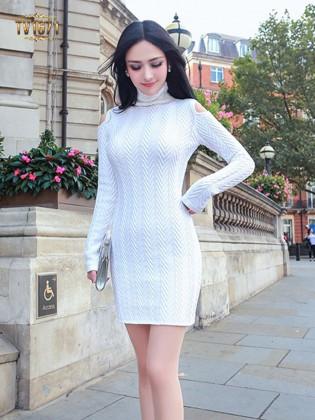 Đầm len xương cá TV1671 dáng body thời trang mới nhất 2017