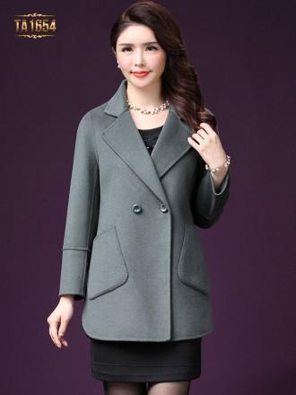 Áo khoác dạ TA1654 mới túi lệch 1 cúc (Màu ghi)