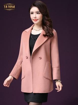 Áo khoác dạ TA1654 mới 2017 túi lệch 1 cúc (Màu hồng)