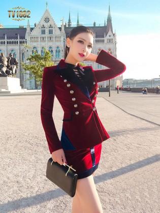 Set áo khoác kèm chân váy TV1682 mới 2017 chất nhung cao cấp
