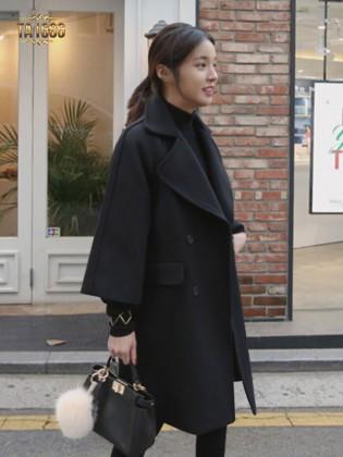 Áo khoác dạ dài  TA1686 mới 2017 dáng oversize màu đen