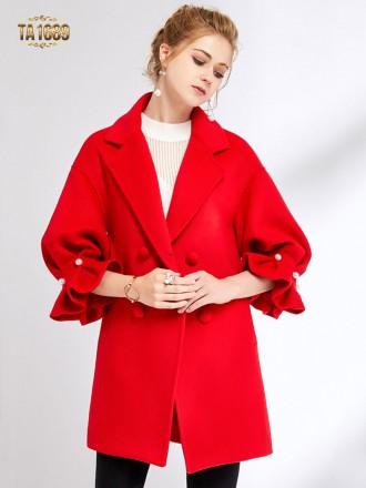 Áo khoác dạ dài  TA1689 mới 2017 tay lỡ đính ngọc trai