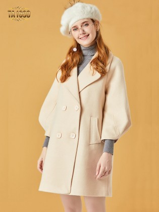 Áo khoác dạ TA1690 mới 2017 tay bồng kiểu lỡ 2 túi