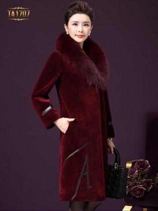Áo khoác  nhung TA1707 mới 2017 cổ lông tay đai da (Đỏ bã trầu)