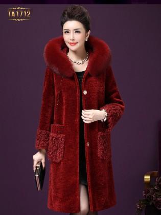 Áo khoác nhung TA1712 mới 2017 mũ lông chấm da thời trang (Màu đỏ)