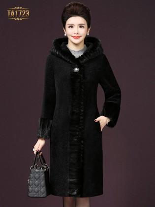 Áo khoác nhung  dài TA1723 mới viền lông màu đen