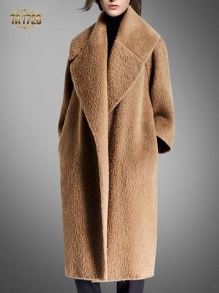 Áo khoác dạ lông cừu TA1728 dáng dài cổ ve cao cấp 2017 (Màu nâu)