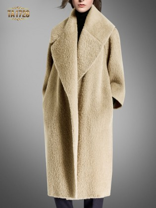 Áo khoác dạ lông cừu TA1728 dáng dài cổ ve cao cấp 2017 (Màu nude)