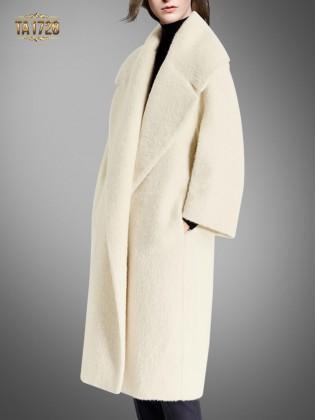 Áo khoác dạ lông cừu TA1728 dáng dài cổ ve cao cấp 2017 (Trắng kem)