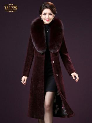 Áo khoác nhung TA1729 cổ lông cỡ lớn cúc đen 2017