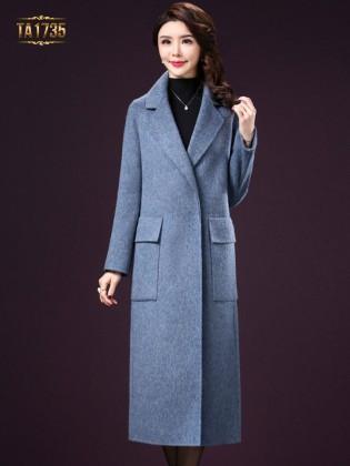Áo khoác dạ TA1735 kiểu cổ vest túi hộp cao cấp 2017 (Màu xanh)