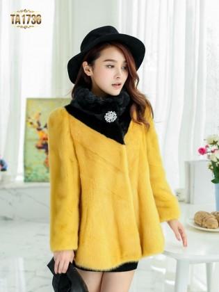 Áo khoác lông TA1736 dáng ngắn phối màu đính đá 2017 (Màu vàng)