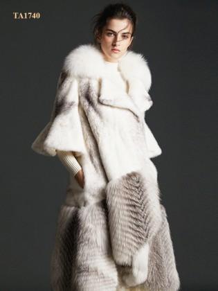 Áo khoác lông thú  TA1740 tự nhiên Bắc Mỹ cao cấp thiết kế mới 2019 (Màu trắng)