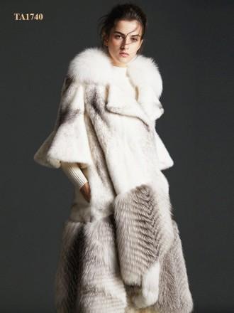 Áo khoác lông thú tự nhiên Bắc Mỹ cao cấp thiết kế mới 2019 TA1740 (Màu trắng)