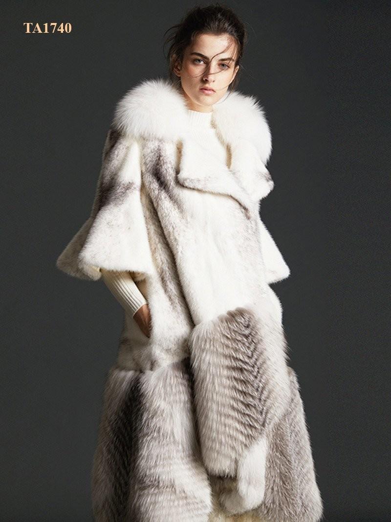 Áo khoác lông thú TA1740 tự nhiên Bắc Mỹ cao cấp thiết kế mới 2019