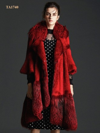 Áo khoác lông thú tự nhiên Bắc Mỹ cao cấp thiết kế mới 2019 TA1740 (Màu đỏ)