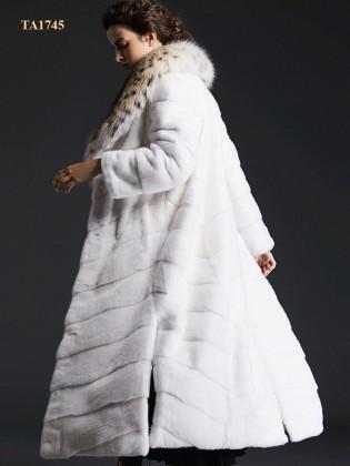 Áo lông thú tự nhiên  TA1745 dáng dài cổ phối thời thượng mới 2019