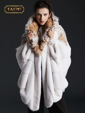 Áo khoác lông thú tự nhiên thiết kế độc quyền mẫu mới TA1797