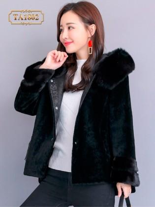 Áo lông thú TA1802 dáng ngắn thời trang mẫu mới 2019 (Màu đen)