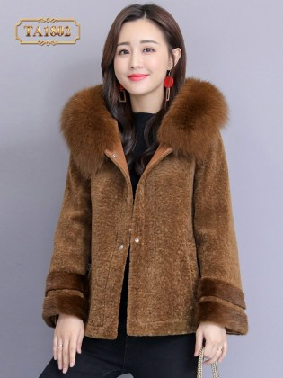 Áo lông thú TA1802 dáng ngắn thời trang mẫu mới 2019 (Màu nâu)