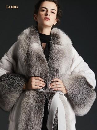 Áo lông thú TA1803 thời thượng hàng thiết kế độc quyền mẫu mới 2019 (Xám trắng)