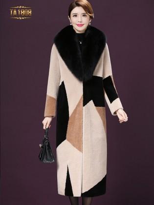 Áo khoác lông TA1808 họa tiết cao cấp phối màu sang trọng