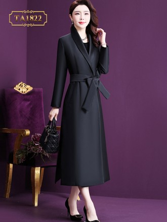 Áo khoác dạ đen dáng dài cổ vest đai nơ thanh lịch TA1822