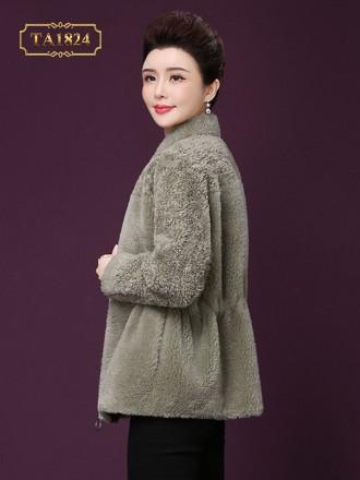 Áo khoác lông dáng ngắn bo eo cổ 3 phân thời trang TA1824