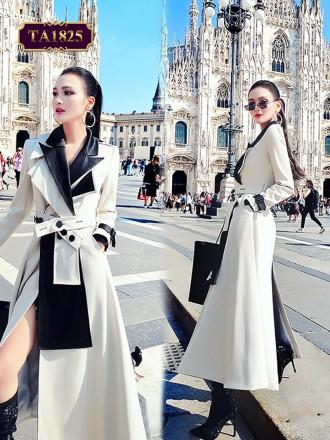 Áo khoác da dáng dài cổ vest 2 lớp tay bo đai thời trang (kèm dây đai) TA1825