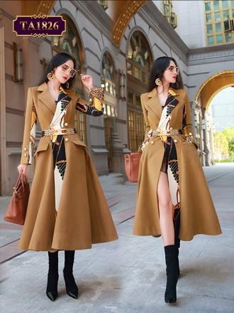Áo khoác dạ họa tiết vạt lệch túi nắp chéo thời trang (kèm dây đai xích) TA1826