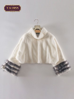 Áo khoác lông croptop tay viền màu thời trang TA1855