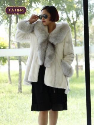 Áo khoác lông cao cấp vạt cao thấp có mũ thời trang TA1846