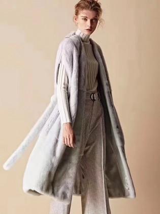 Áo khoác lông 100% tự nhiên dáng dài kiểu gile A12