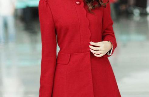 Áo khoác dạ cổ tròn dịu dàng nữ tính mùa thu đông