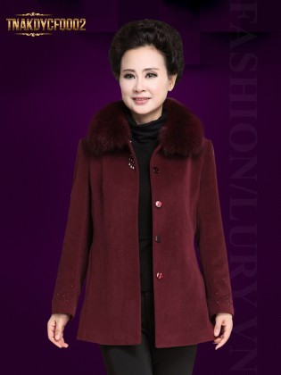 Áo khoác dạ trung niên cổ lông cừu TNAKDYCF0002