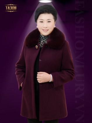Khoác dạ trung niên HQ một màu thân áo đính hạt cườm đẹp TA308